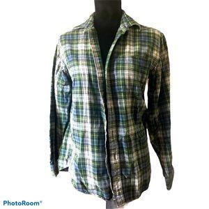 LL Bean green/blue flannel
